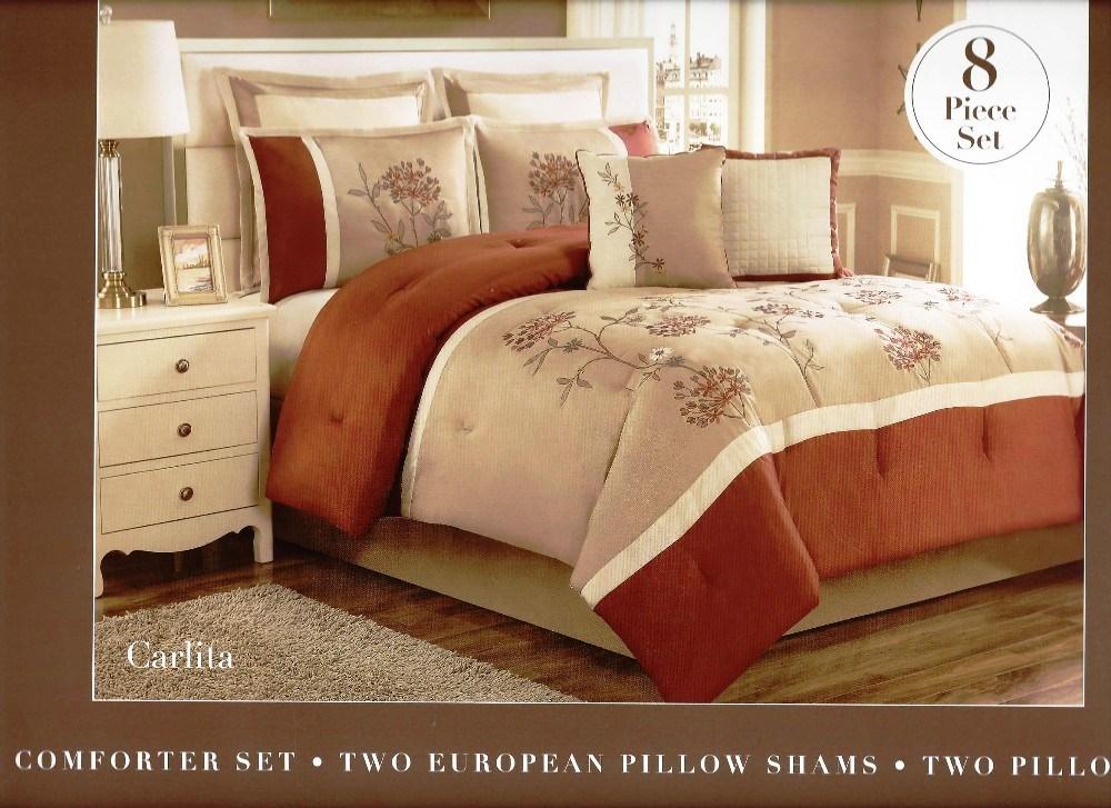 8 Pc Embroidered Comforter Set Quot Carlita Quot Rust Tan