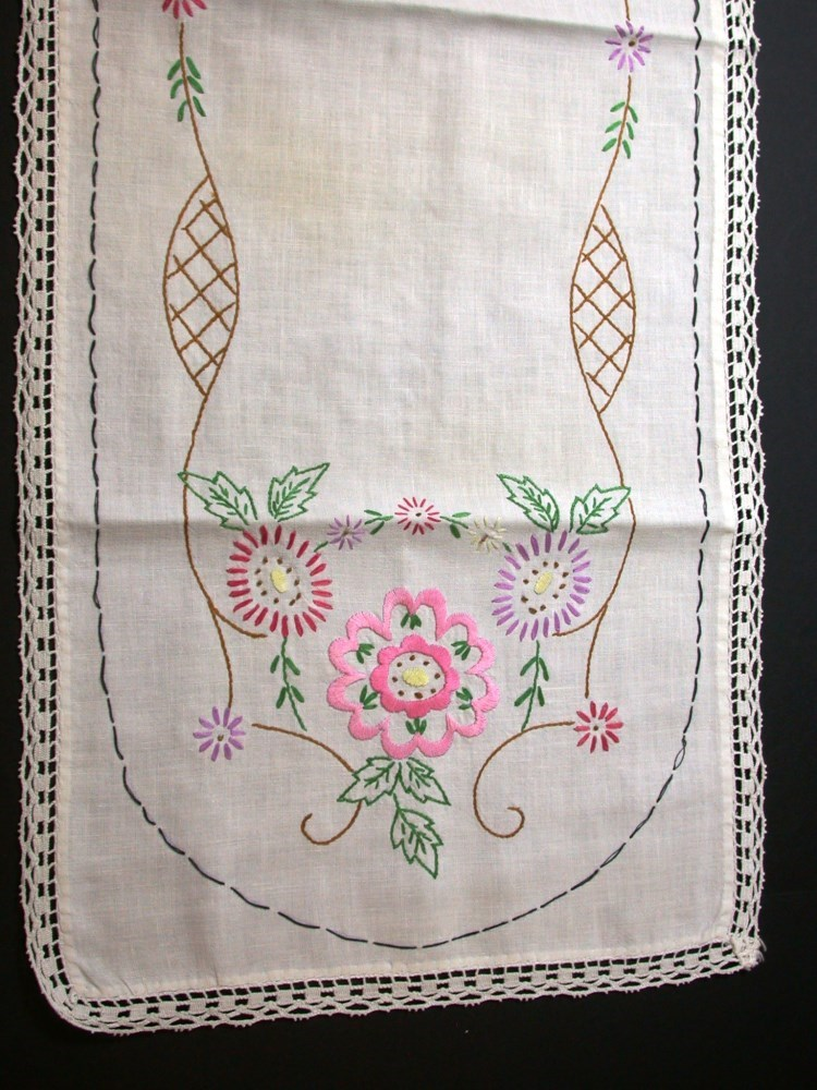 Vintage floral dresser scarf doily embroidered woven