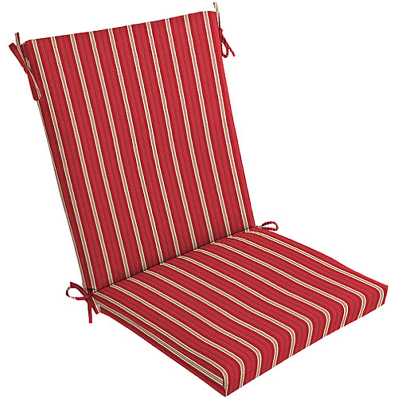 2 Outdoor Patio Chair Cushions Racer Red Stripes NEW