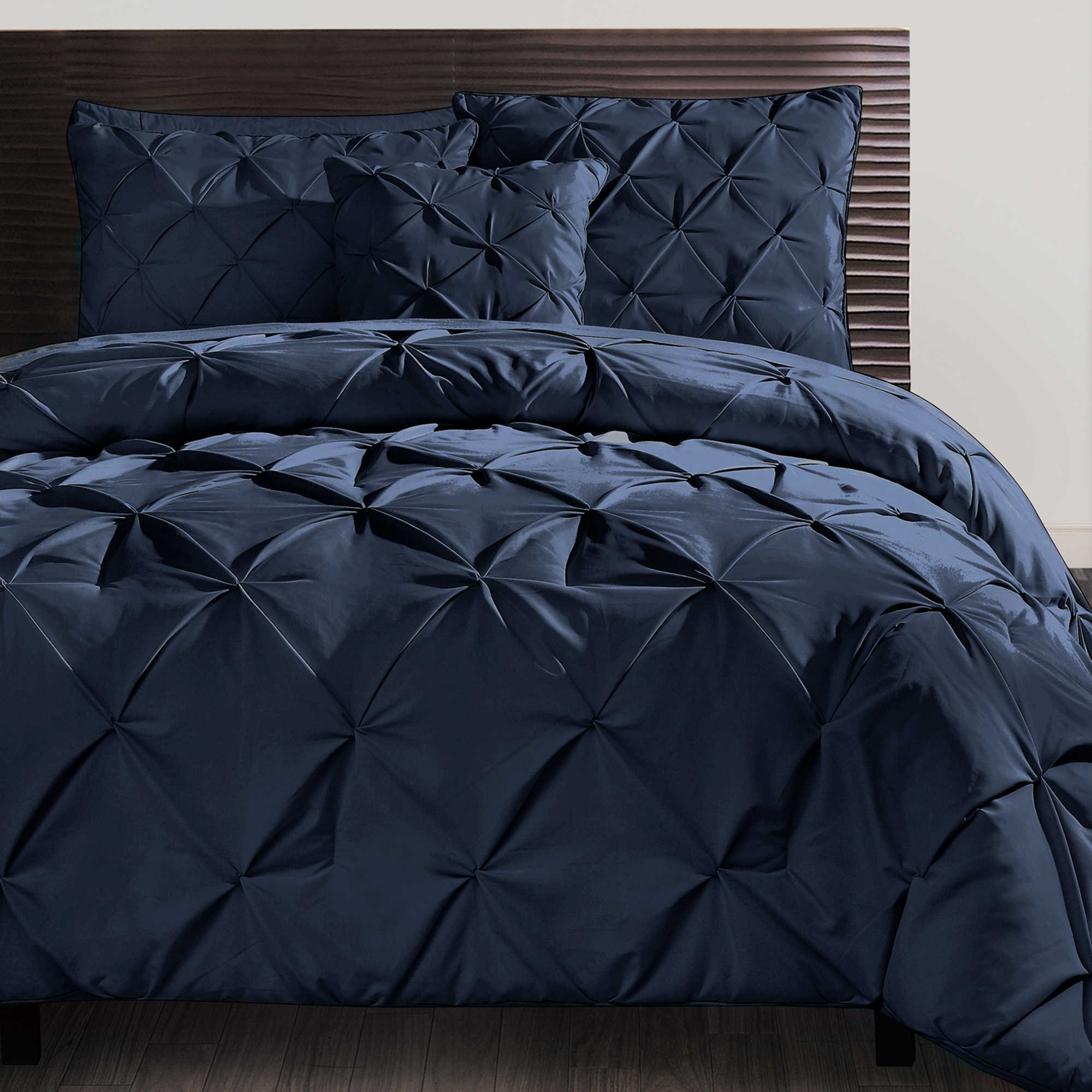 cover duvet cotton piece product solid pinched pinch comforter set navy pleat size king bedding blue